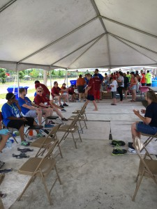 Volunteers setting up for the afternoon session at the Fit Feet tent.